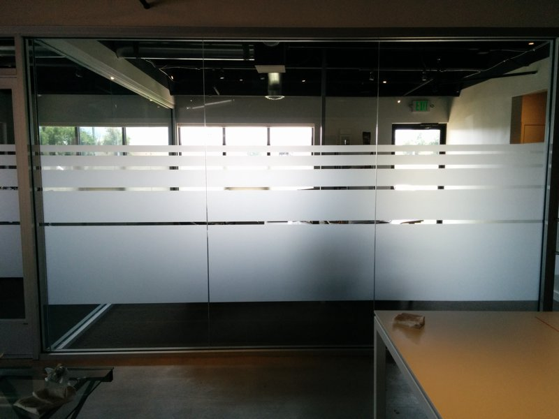 Office Privacy Utilizing Frosted Vinyl For Window Graphics