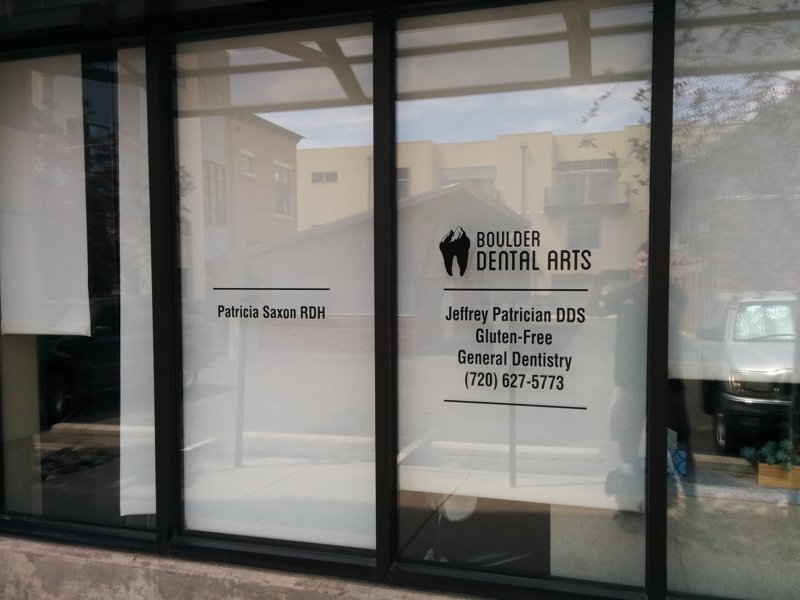 Black vinyl window graphics