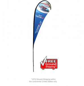 Large Single Sided Tear Drop with Spike Base Banner Stand