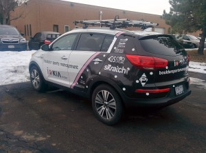 Vehicle wrap for the GS Ciao chase car.