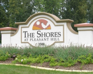 The Shores foam monument sign
